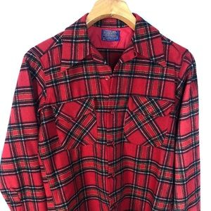 PENDLETON Vintage Board Shirt M Red Wool Buffalo